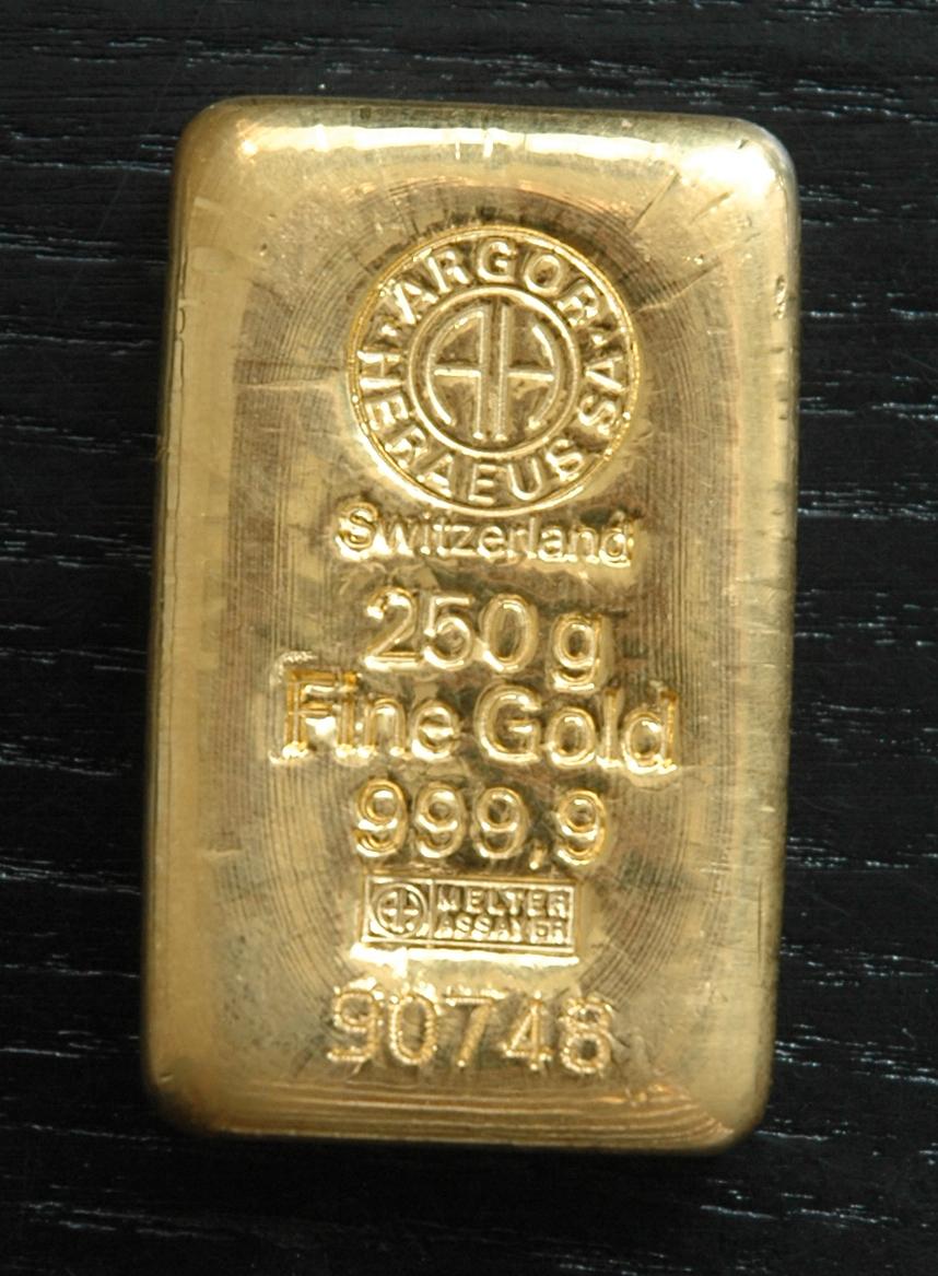 Zlatá tehla 250 gramov 999,9/1000 Au