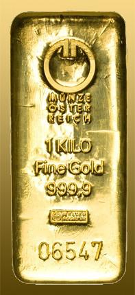 Zlatá tehla 1 kg 999,9/1000 Au rôzni výrobcovia