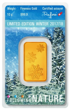 Tehlička 5 g - 999,9/1000 Au Argor-Heraeus Limited edition Winter 2017/18