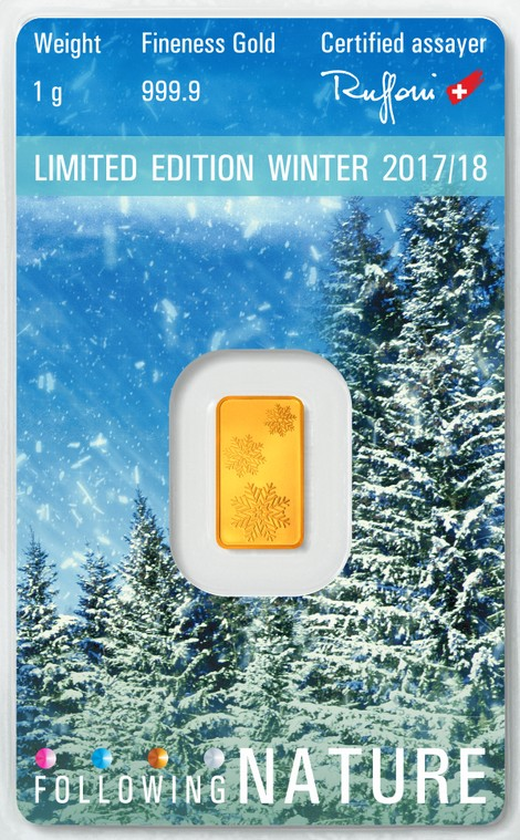 Tehlička 1 g 999,9/1000 Au - Limited edition - Winter 2017/18