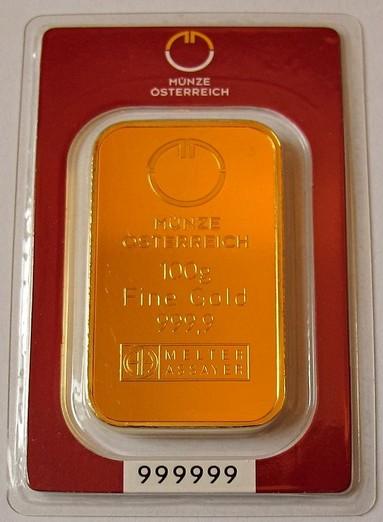 Tehlička 100 gramov 999,9/1000 Au Munze Ostereich (červená kartička)