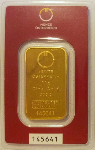 Tehlička 20 g 999,9/1000 Au Munze Ostereich