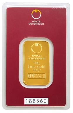 Tehlička 50 gramov 999,9/1000 Au Münze Östereich