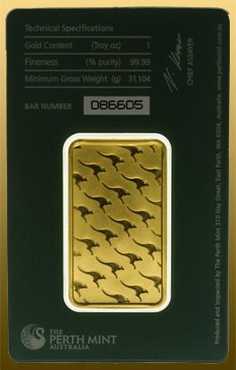 Tehlička Perth Mint 1 Oz s certifikátom