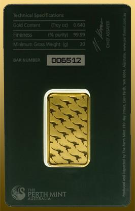 Tehlička 20 gramov Perth Mint 999,9/1000 Au