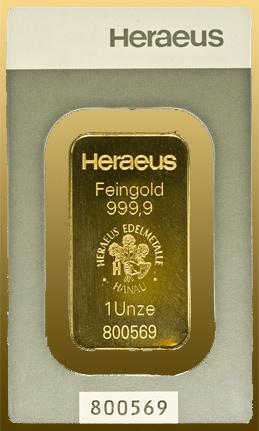Tehlička 1 Oz Heraeus 999,9/1000 Au - s certifikátom a hologramom