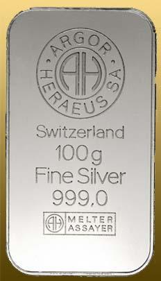 Silver bar 100 gramov 999/1000 Ag Argor-Heraeus