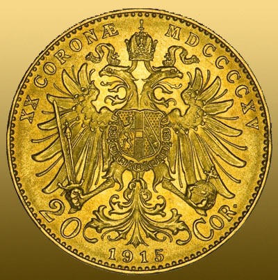 20 Kronen Östereich (6,775g 900/1000 Au = 6,09 čistého Au) novorazba