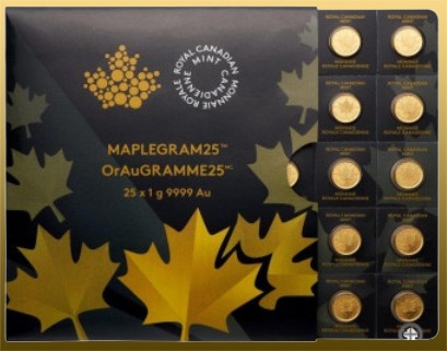 MAPLEGRAM25 - 25x 1 gram Maple Leaf